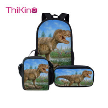 Thikin Dinosaur School Bags for Kids Boys Backpacks Pencil Case Preschool Lunchbox pupil Travel Shoulder Bag Women Mochila