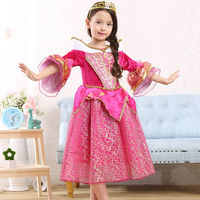 Girls Sleeping Beauty Princess Cosplay Party Dress Costume For Kids Halloween Party Fancy Dance Anna Elsa