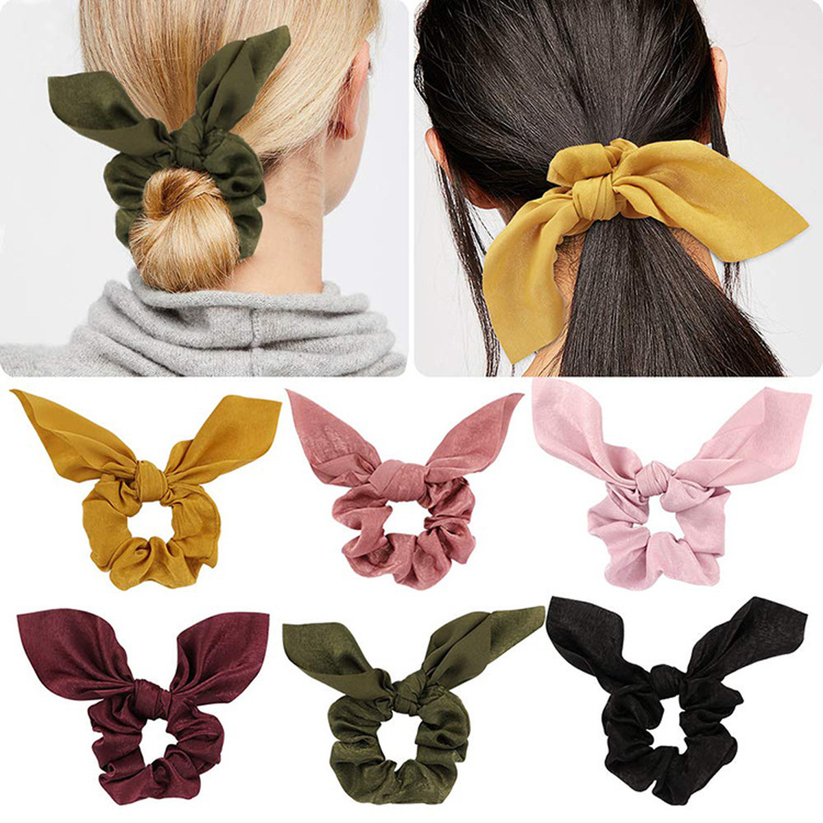 ZVZO Fashion Bow Elastic Hair Bands Women Scrunchie Hair Ribbon Ponytail Ladies Headbands Solid   Headwear   Fixed Hair Accessories