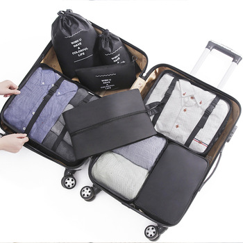 8pcs/set Packing Cube Travel Bags Unisex Large Capacity System Durable Clothing Shoes Sorting Organizer Luggage Accessory Supply