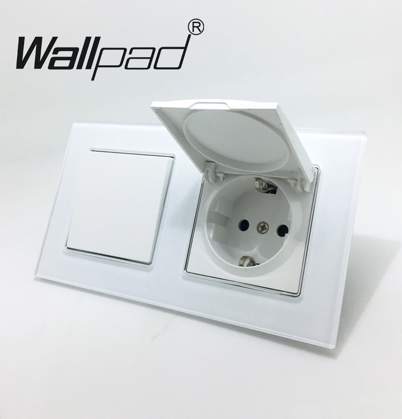Switch and EU Socket with Cap Wallpad Crystal Glass Panel 110V-250V 1 Gang Switch and Dust Cap Schuko EU Socket with Claws Clips цена