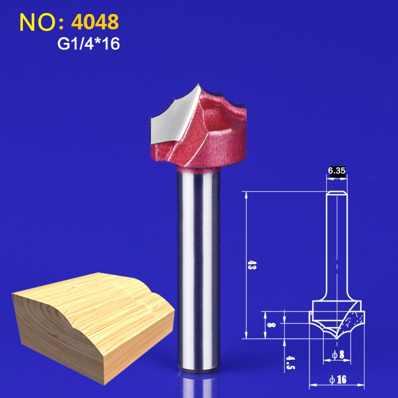 1pcs6.35*16mm Chest/Door wood flat edge trimmer milling cutter engraving machine tool slotting Lace knife NO:4048