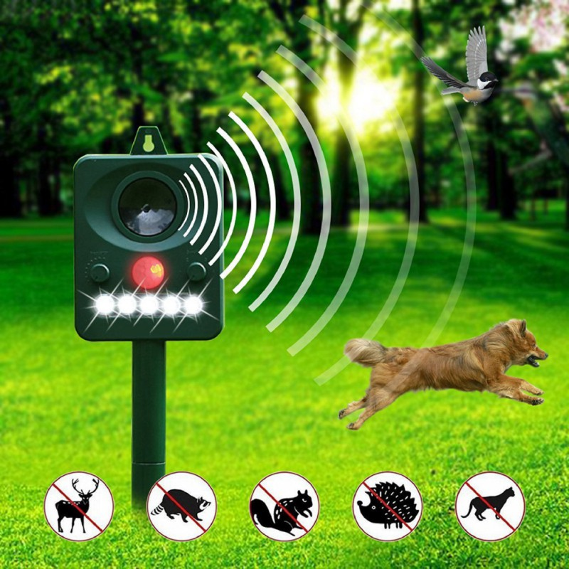 Gato perro Animal repelentes Animal Chaser disuasión repelente de plagas Control de jardín al aire libre uso ultrasónico Solar Powered