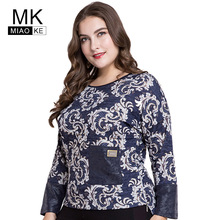 Miaoke 2018 Plus Size Tops women clothes Fashion Round neck print stitching  long-sleeved T 2cd9bf5975ec