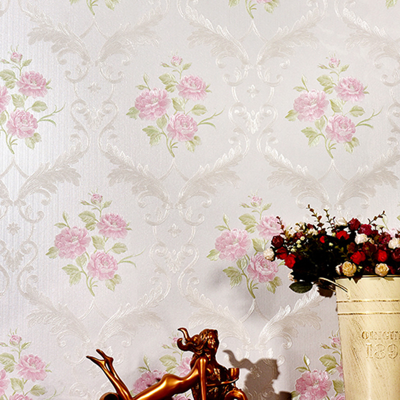 European Style Embossed Floral Wall Paper Roll Pink Beige Rustic 3D Flower Wallpapers Bedroom Living Room Contact Papel Mural vertical stripe wallpaper roll pink creamy beige blue strip wall paper non woven wallpapers 3d modern european wallpapers mural