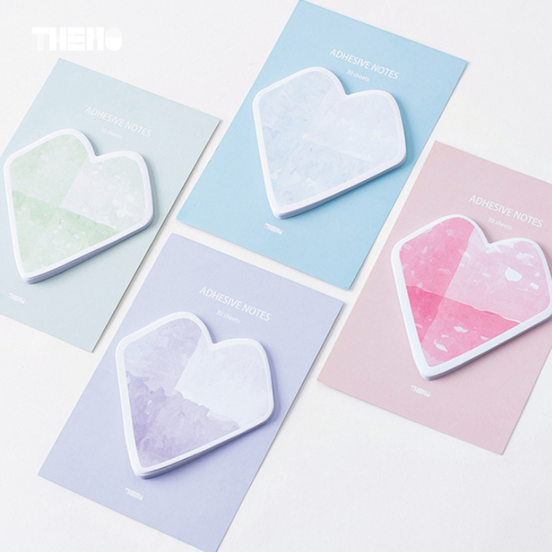 1 X color Sweet Heart memo pad paper sticky notes notepad post stationery papeleria school supplies material escolar