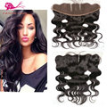 Full frontal lace closure malaysian body wave frontal 13x4 Middle 3 part lace frontal closure with baby hair human hair frontal
