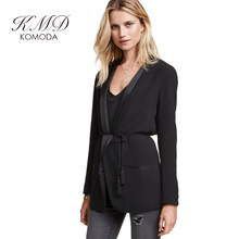 KMD KOMODA Women Blazer Pajama Style Solid Black Belt Full Sleeve Coat Autumn Streetwear Elegant OL Casual Basic Brief Overcoat