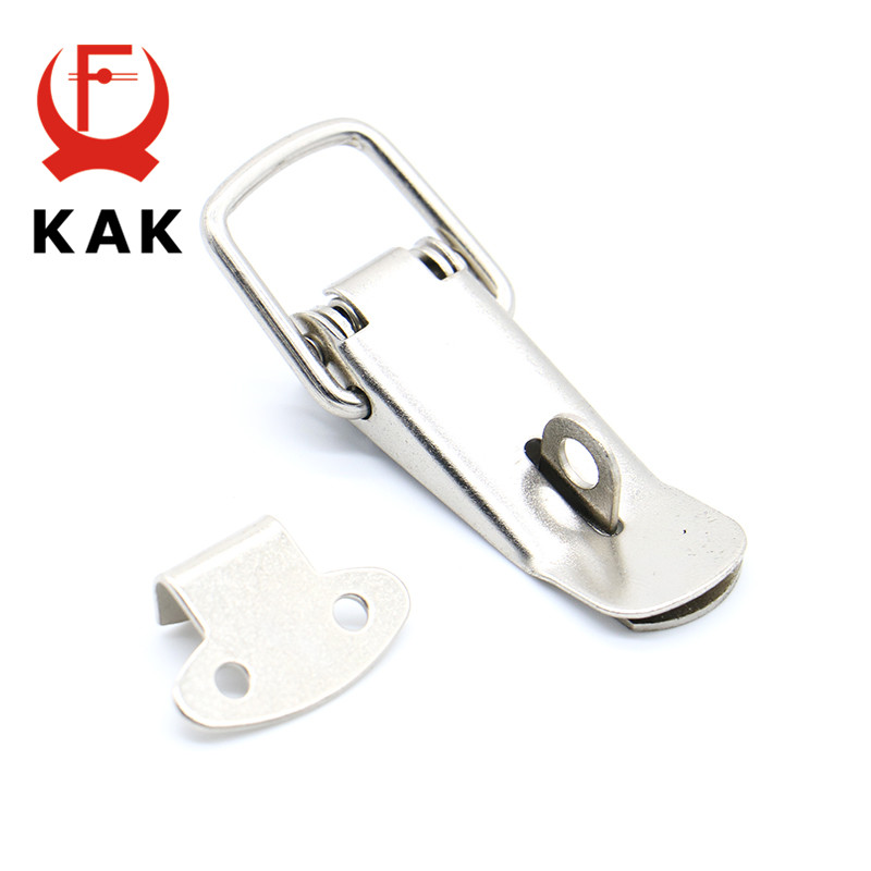 4PC KAK-J106 Cabinet Box Locks Spring Loaded Latch Catch Toggle 27*63 Iron Hasps For Sliding Door Window Furniture Hardware