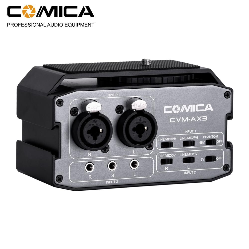 Comica CVM-AX3 XLR Audio Mixer Adapter Preamplifier Dual XLR/3.5mm/6.35mm Port Mixer for Canon Nikon DSLR Camera S&CamcordersComica CVM-AX3 XLR Audio Mixer Adapter Preamplifier Dual XLR/3.5mm/6.35mm Port Mixer for Canon Nikon DSLR Camera S&Camcorders