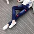 5xl plus big size denim jeans pants women spring autumn 2016 bermuda feminina elastic waist skinny jeans pants female A1344