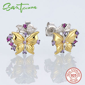 Image 3 - SANTUZZA Silver Jewelry Set For Woman Pure 925 Sterling Silver Yellow Gold Color Butterfly Earrings Pendant Set  Fashion Jewelry