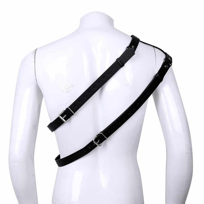 TiaoBug, из искусственной кожи пикантный, на одно плечо, регулируемый, с заклепками, связывающий пояс для мужчин, грудь, жгут для мужчин, БДСМ, бондаж, панк, готический костюм