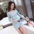 Primavera outono moda de nova mulheres camisola de manga longa one piece dress onda fêmea pullover de médio-longo fino com decote em v de malha camisa