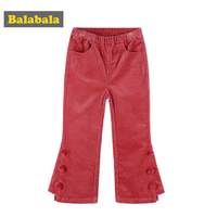 Balabala corduroy pants for girls toddler kids fashion leggings for children girls Boot Cut pants with pompon girls trousers
