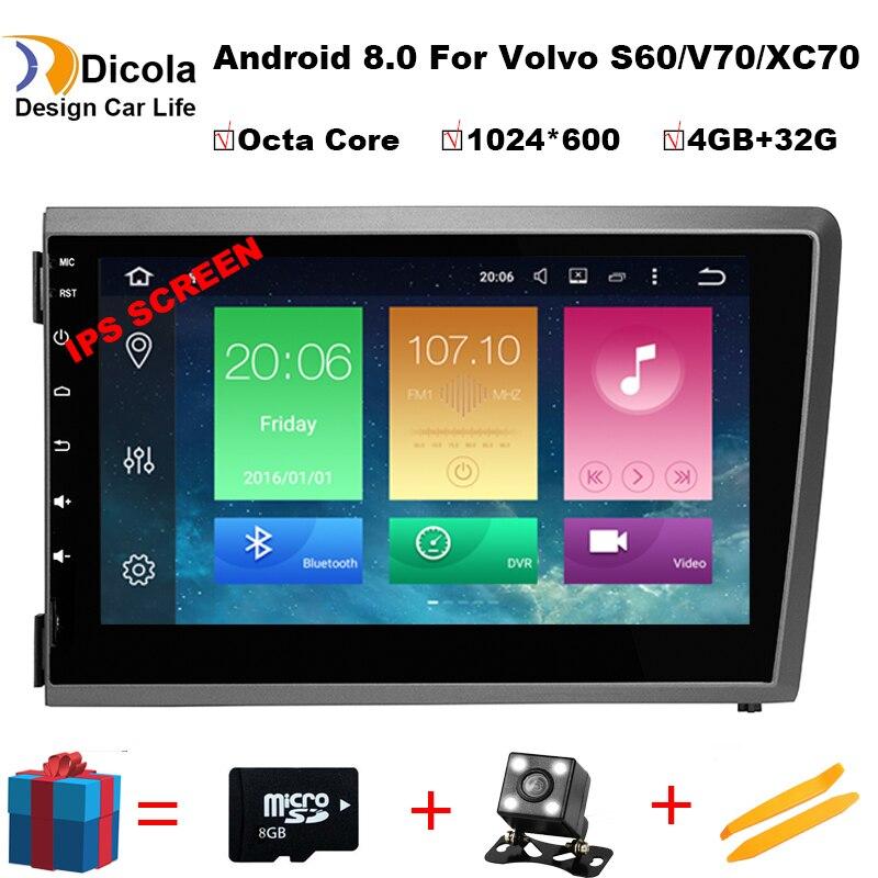 8 4g DSP IPS Android 8.0 LECTEUR DVD de VOITURE Pour Volvo S60 V70 XC70 2000 2001 2002 2003 2004 GPS navigation radio stéréo dab +