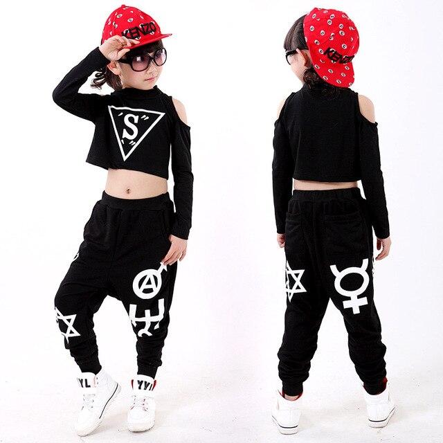 Fabuleux Cool Teen Girls Hip Hop Dance Wear For Kids Black Cotton Crop Top  OV31