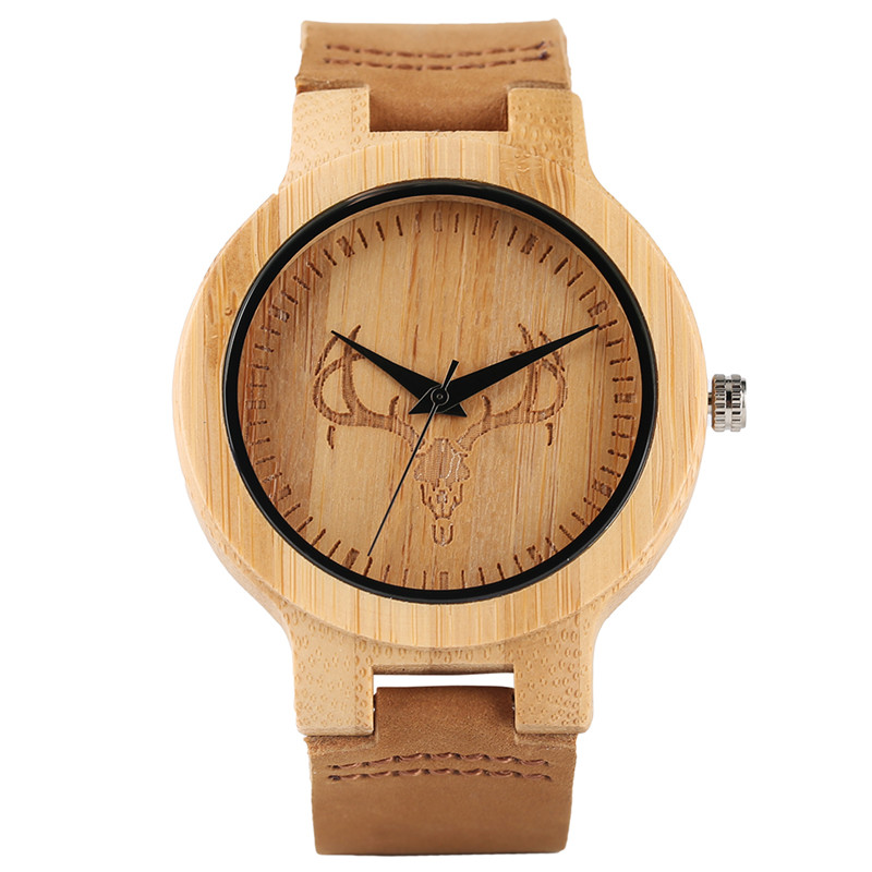 Hot Selling Simple Sculpted Elk Head Mens Wood Wristwatch Quartz Genuine Leather Watchband Strap Fashion Watches for Female Gift