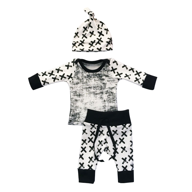 Newborn Toddler Baby Boy Girl Long Sleeve Tops+Pants Hat 3 Pcs Outfit Set Clothes black+white