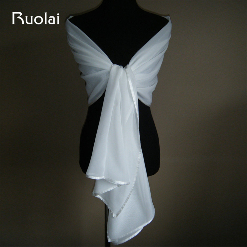 200cm*75cm White/Ivory Chiffon Wedding Jacket Wrap Bridal Shawl Ribbon Edge Wrap Stole Bolero Pashmina Tippe Scarf Shrug FJ03