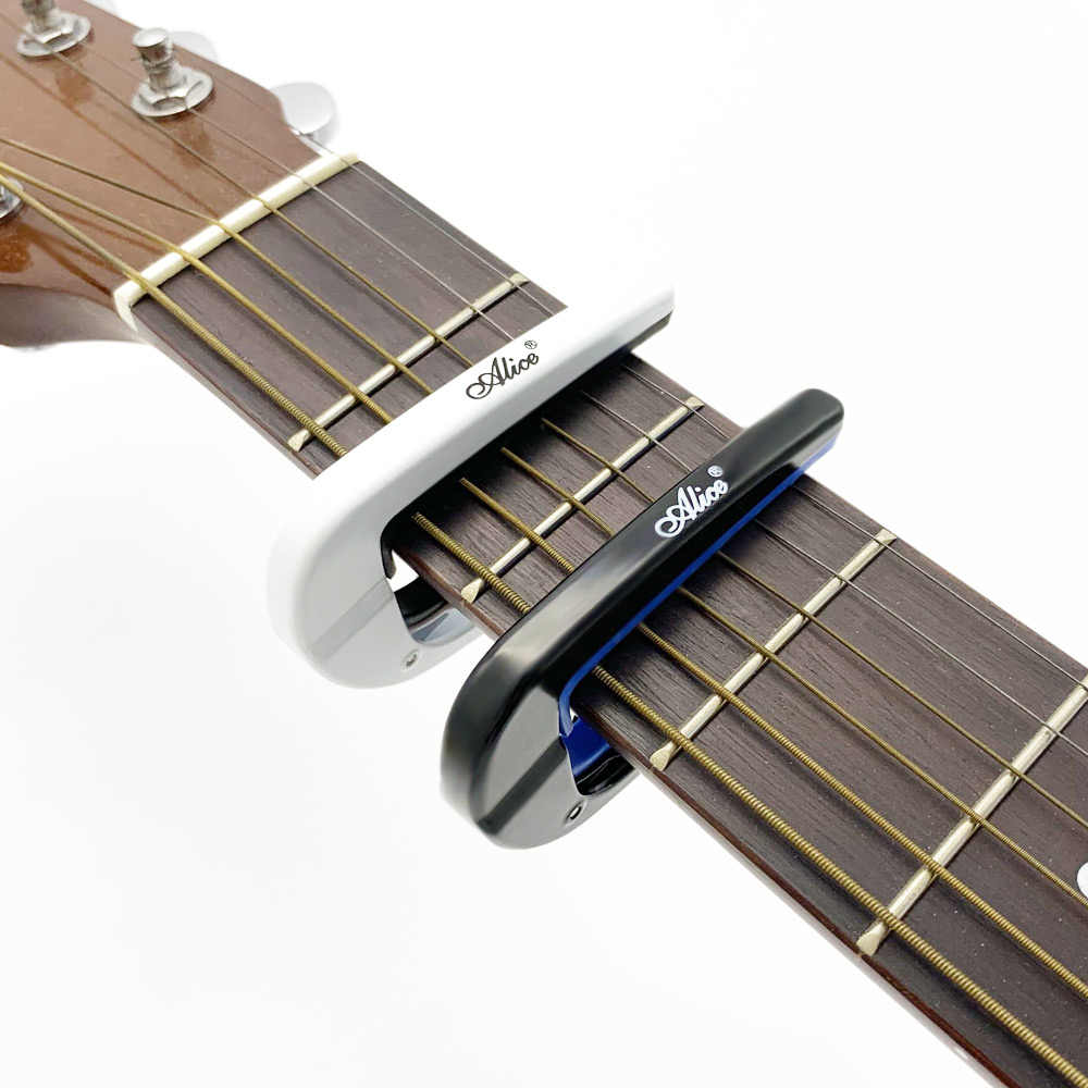 Alice Electric Acoustic Guitar Capo Metal Capotrase Also for Bass Ukulele Color Black / White