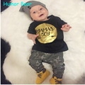 Humor bear bebê meninos criança roupas de bebê menino e menina estilo t shirt + calças crianças roupas conjunto de roupas infantis