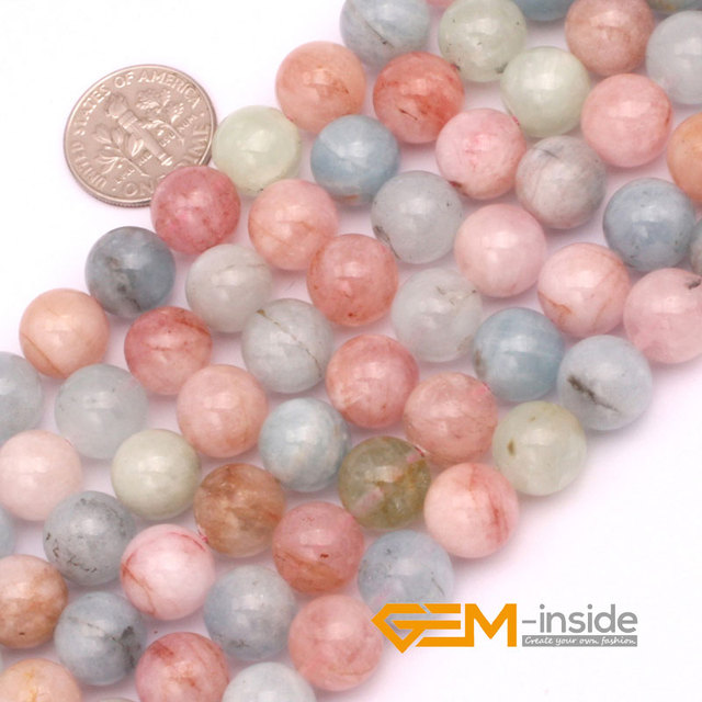 "Round Morgan Stone Jewelry Loose Beads Natural Stone Beads DIY Beads For Bracelet Or Necklace Making Strand 15"" Wholesale !"