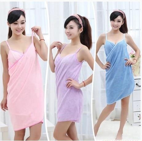 1 unids 70x140 cm microfiber Wearable toalla sexy Bañeras robe lavar secado rápido ropa WRAP mujeres Bañeras toallas traje de playa vestido