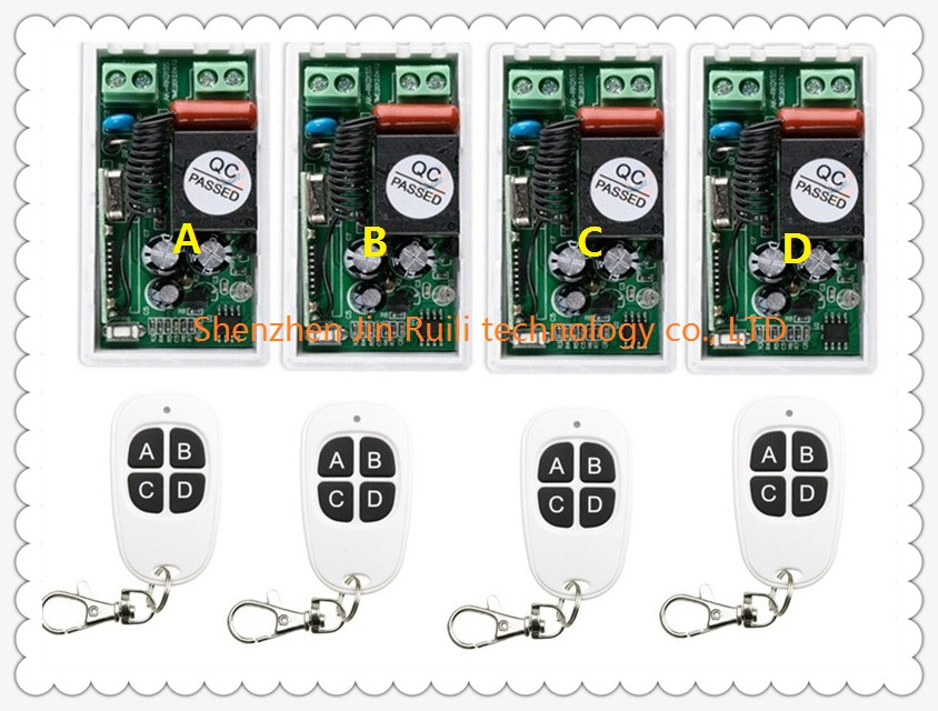 most simple wiring New AC220V 1CH 1Channe RF wireless remote control switch System 4X Transmitter + 4X Receiver,315/433 MHZ ac 220 v 1 ch wireless remote control switch system 4x transmitter with 2 buttons 1 x receiver light lamp ledon off 315 433mhz
