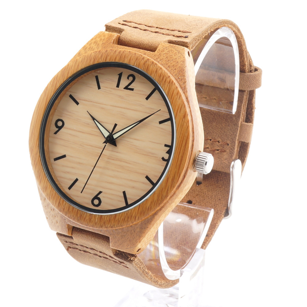 Bobobird RT0431 Mens Brand Luxury Wooden Bamboo Watches With Real Leather Quartz Watch in Gift Box