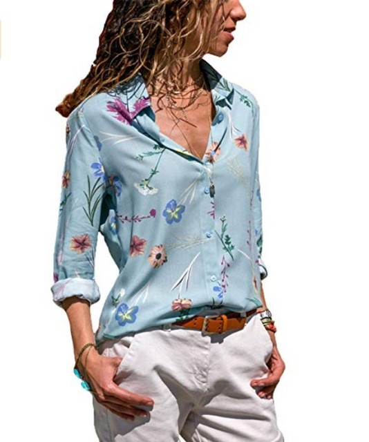 8071ae7c LASPERAL Womens V Neck Floral Print Button Down Blouse Casual Blouses Tops  Plus Size Long Sleeve