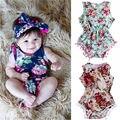 Roupas de criança Meninas Floral Romper Do Bebê Recém-nascido Macacão Sunsuit Set