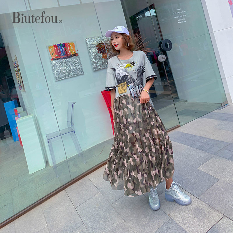 2019 Summer camouflage gauze long dresses women fashion sequins dresses