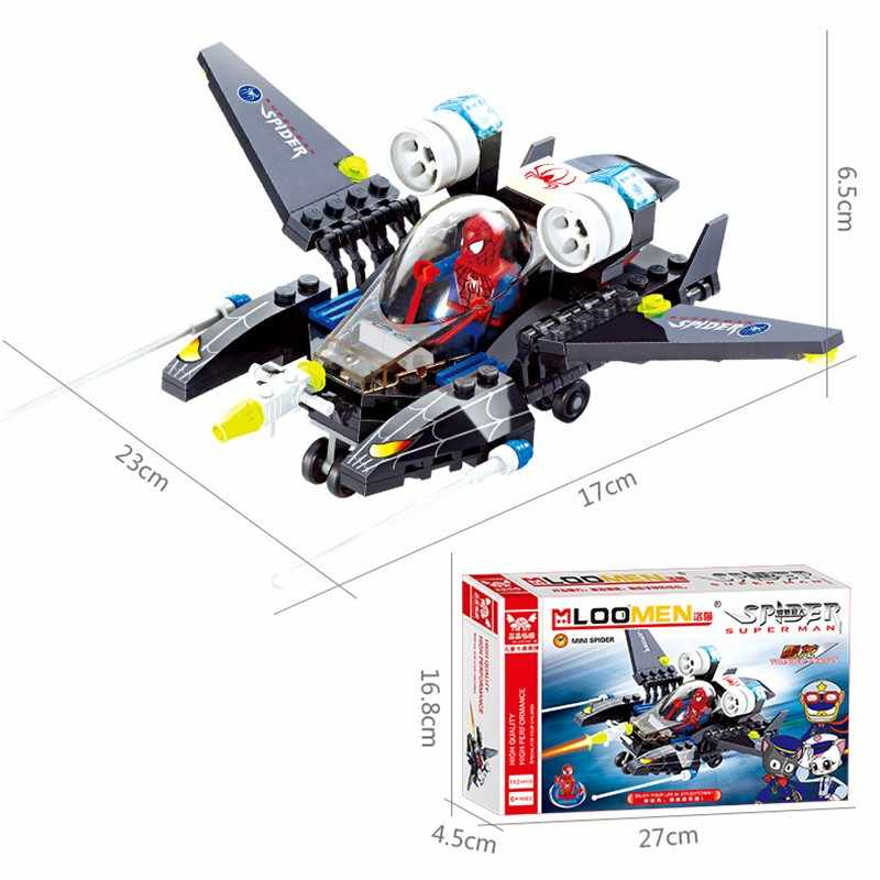 112 sztuk superbohater Spider-Man samolot Legoings klocki budowlane zabawka zestaw DIY edukacyjne dzieci boże narodzenie urodziny prezenty