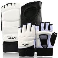 2016 PU Leather Half Finger Taekwondo Gloves Foot Guard TKD Protectors Fighting Karate Footgear MMA Hands