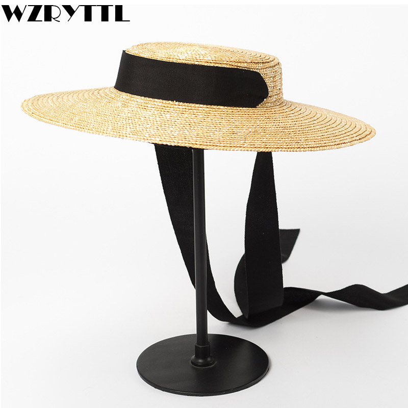 2019 Wide Brim Boater Hat 10cm 15cm Brim Straw Hat Flat Women Summer Kentucky Derby Hat White Black Ribbon Tie Sun Hat Beach Cap