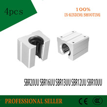 4pcs SBR20UU SBR16UU SBR13UU SBR12UU SBR10UU Linear Bearing  Open Bearing Slide block CNC part linear slide for linear guide