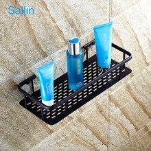 Купить с кэшбэком Modern brass black Bronze bathroom wire basket Shelf holder rectangular bathroom Shampoo holders Single Layer Shelf Holder
