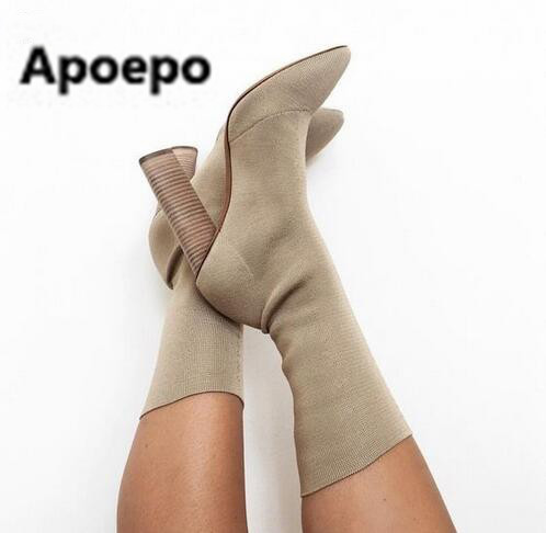 Apoepo Women Boots Stretch Knit Ankle Boots Women Slim Botines Mujer Pointed Toe 9 cm Sexy High Heel Shoes Woman big size 42 green peep toe women summer boots high heel ankle botas mujer lace up women pumps botines mujer slingbacks shoes woman