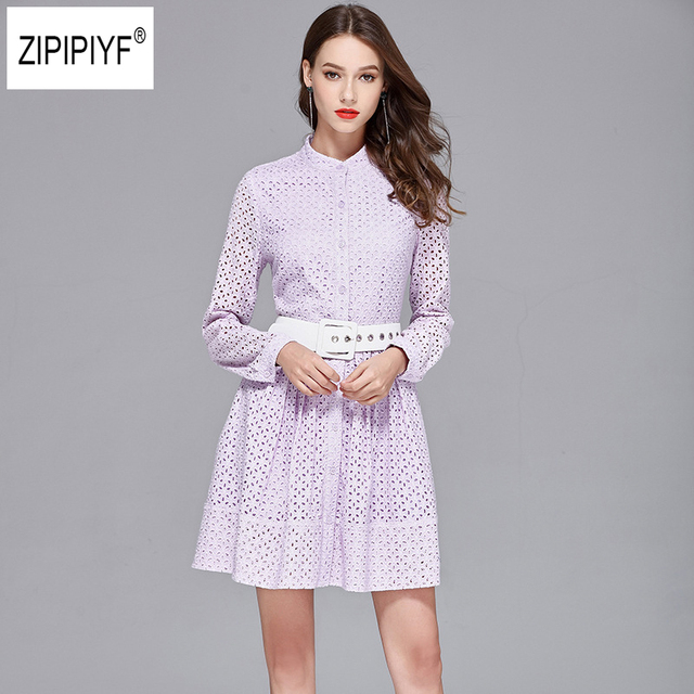 Elegant hollow out lace dress women Long sleeve light purple dress 2018  Spring short casual dress vestidos with sashes B1339 4a492b9237