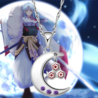 Inuyasha Anime Necklace Sesshoumaru 925 Silver Moon Shape Pendant Necklace Jewelry Choker for Women Men Gift