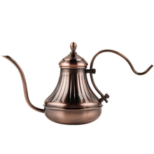 New Stainless Steel Water Kettle With Filter Hand Drip Tea Pot Silver Bronze for Restaurant Vintage Court