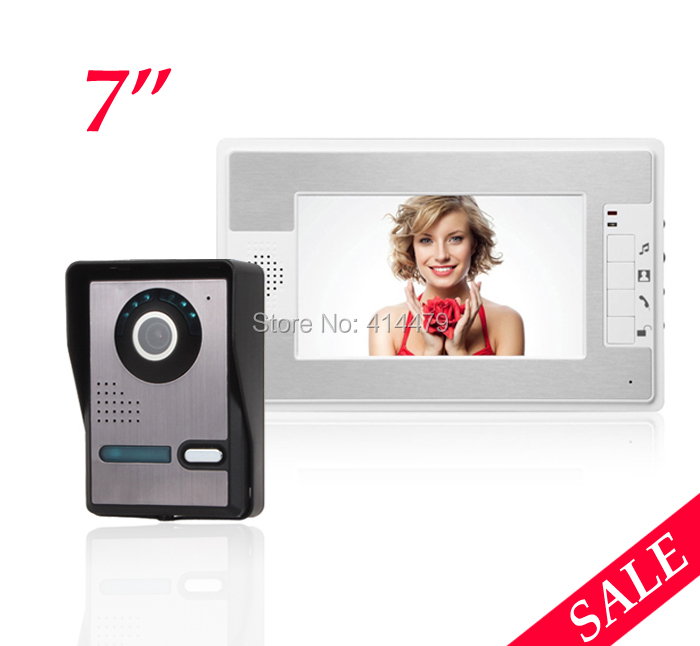 Home 7 inch LCD Video doorphone Ring Intercom Weatherproof Night Vision Camera 7 inch video doorbell tft lcd hd screen wired video doorphone for villa one monitor with one metal outdoor unit night vision