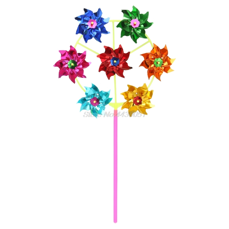 Colorful DIY Sequins Windmill Wind Spinner Home Garden Yard Decoration Kids Toys