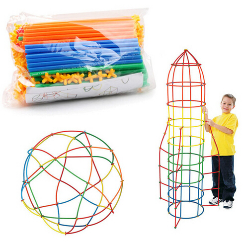 20cm 100/200pcs Assembled Building Blocks Toy Children Intelligence Colorful Plastic Straw Fight Inserted Blocks Gift