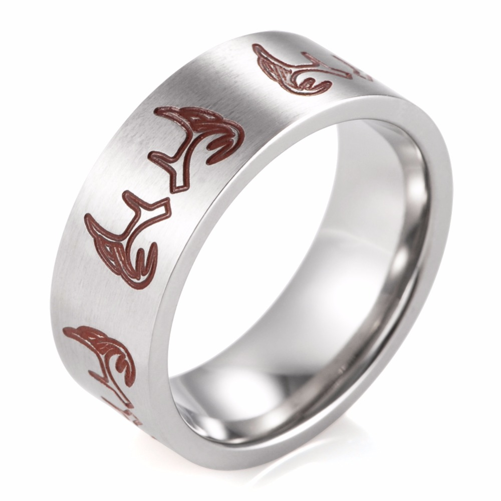 Shardon 8mm Titanium Carved Red Deer Antlers Outdoor Hunting Ring Men's  Wedding Band