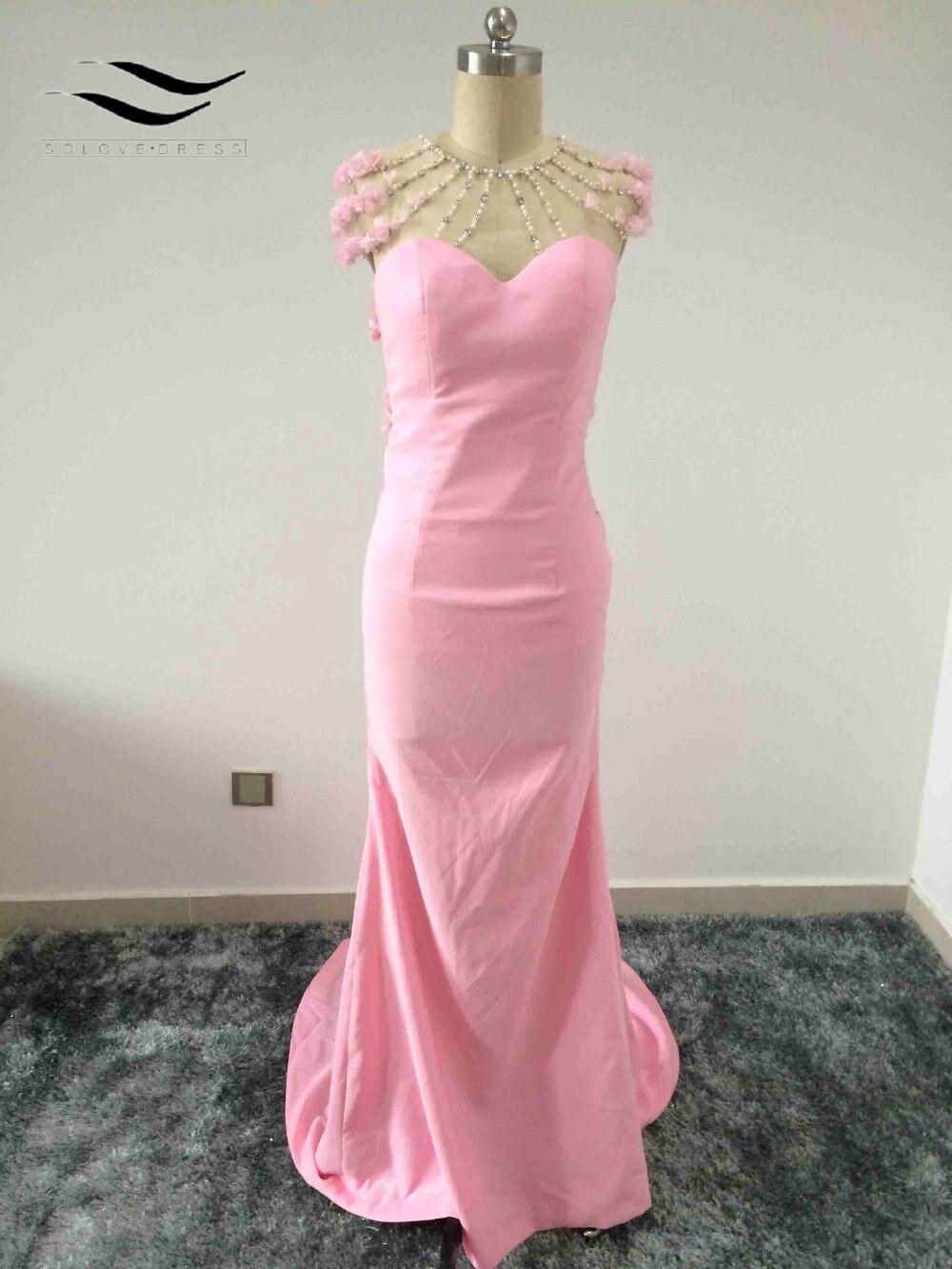 Solovedress пикантные Beadeds и цветы Вечерние платья платье для выпускного вечера с Tri ...