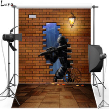 Game Vinyl Photography Background Backdrop For Kids Brick Wall Photo New Fabric Flannel Background For Photo Studio 2437