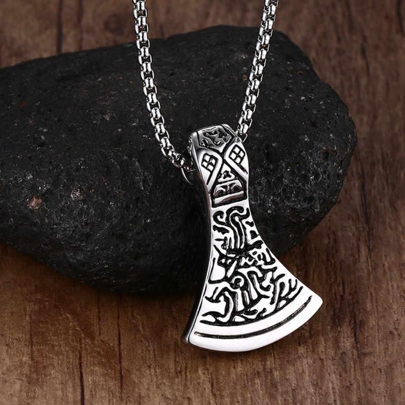 Zorcvens AX Norse Viking Skandinavia Liontin Kalung Thor Odin Rental Asgard Palu Mjolnir Stainless Steel Perhiasan