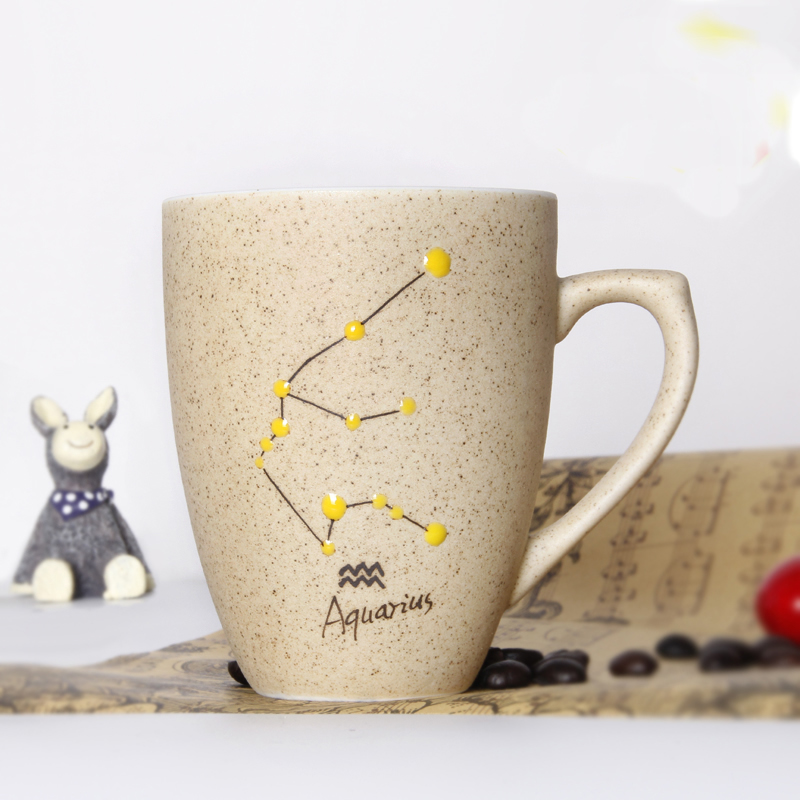 Creative brief constellation ceramic cup Universe Star Handmade coffee mug with lid